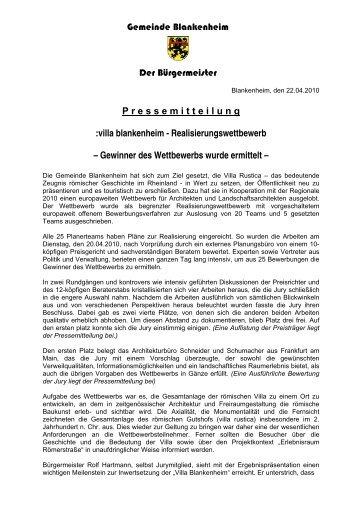 Sieger des Architektenwettbewerbs Römervilla ermittelt - Blankenheim