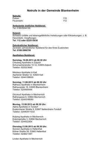 Notdienste für die Gemeinde Blankenheim vom 29.06.2013 bis zum ...