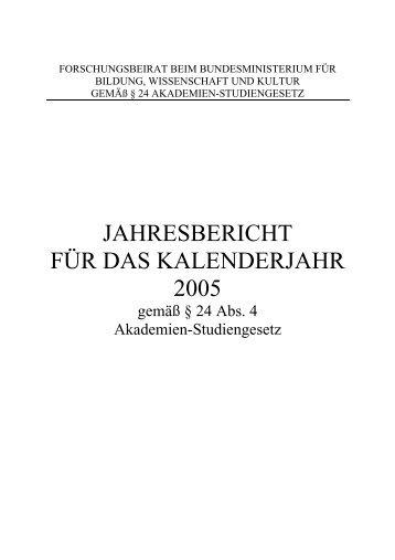 Jahresbericht 2005, pdf - Bundesministerium für Unterricht, Kunst ...
