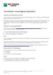 Vorvertragliche Information - BNP Paribas Fortis