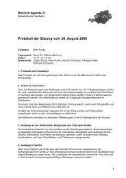 Protokoll der Sitzung vom 30. August 2006 - Bochum Agenda 21