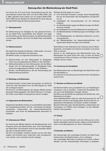 Satzung über die Marktordnung - Thale