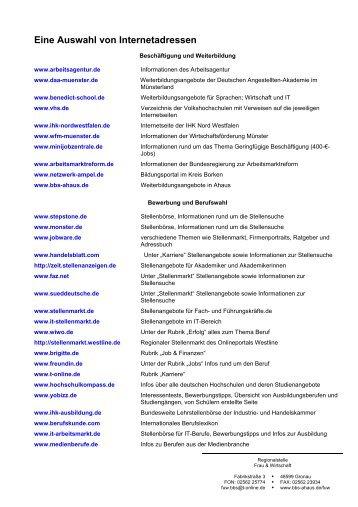 Eine Auswahl von Internetadressen