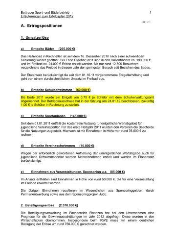 Erläuterungen zum Erfolgsplan 2012 - Bottrop