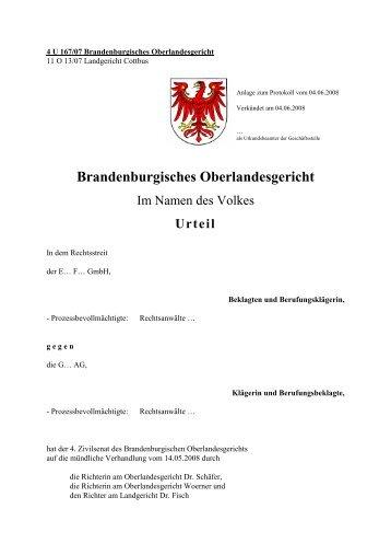 4 U 167/07 Brandenburgisches Oberlandesgericht