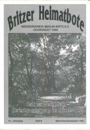 burgerverein berlin britz ev gegründet 1890 - Britzer Bürgerverein