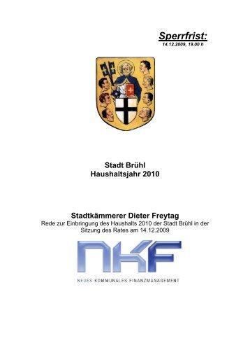 Etatrede 2010 Kämmerer Dieter Freytag - Stadt Brühl