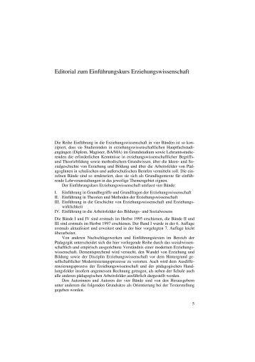 Editorial zum Einführungskurs Erziehungswissenschaft - Budrich