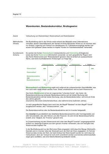 Warenkonten, Bestandeskorrektur, Bruttogewinn - Buechhaltig.ch