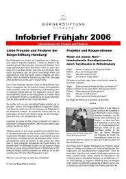 Infobrief Frühjahr 2006 - BürgerStiftung Hamburg