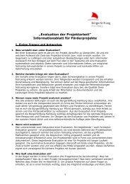 Infoblatt Evaluation - BürgerStiftung Hamburg