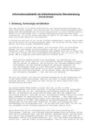 Informationsdidaktik als bibliothekarische Dienstleistung