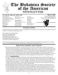 March 2003 Vol. 13 #1 - Bukovina Society of the Americas