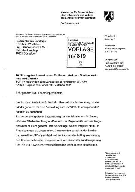 Gemeldete Projekte der NRW-Regionalräte - Bund