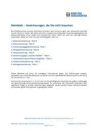 Merkblatt – Versicherungen, die Sie nicht brauchen - Bund der ...
