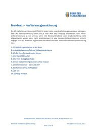 Merkblatt – Kraftfahrzeugversicherung - Bund der Versicherten e.V.