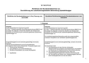 Synopse Richtlinien der Bundesärztekammer zur Durchführung der ...