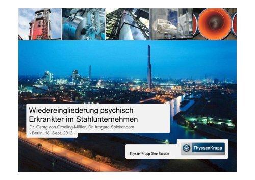 Wiedereingliederung psychisch Erkrankter im Stahlunternehmen