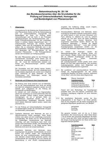 Bekanntmachung Nummer 20/04 - Bundessortenamt
