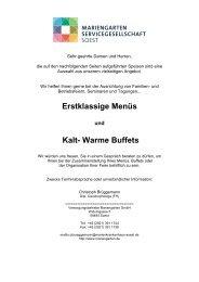 Erstklassige Menüs Kalt- Warme Buffets - Mariengarten