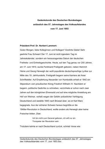 Reden von Bundestagspräsident Prof. Dr. Norbert Lammert und Prof ...