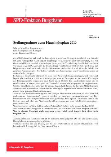 Stellungnahme der SPD zum Haushalt 2010 - Gemeinde Burgthann