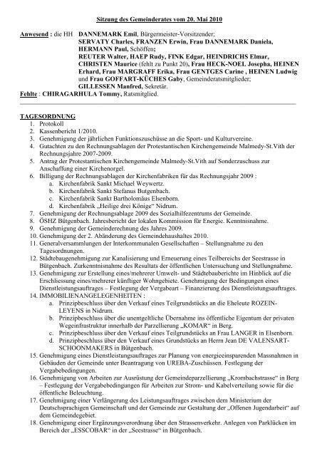Sitzung des Gemeinderates vom 20. Mai 2010 Anwesend : die HH ...