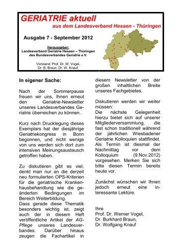 GERIATRIE aktuell Nr.7 Sept 2012 (2-. Version - Bundesverband ...