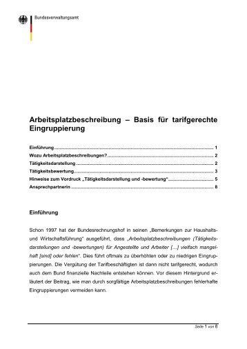 Arbeitsplatzbeschreibung - Basis für tarifgerechte Eingruppierung