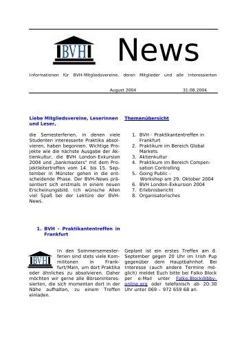 Neues Konzept für BVH-News (Neues Layout)