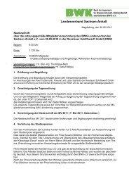Niederschrift zur Mitgliederversammlung 2012 in Dessau-Rosslau