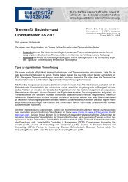 Themen für Bachelor- und Diplomarbeiten SS 2011