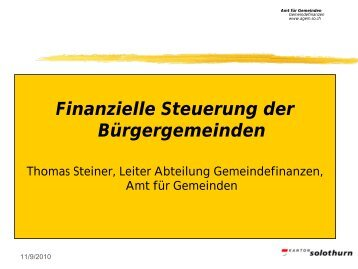 Finanzielle Steuerung der Bürgergemeinden - BWSo