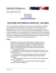 DOCTORS AND MEDICAL SERVICES – BAVARIA - Germany