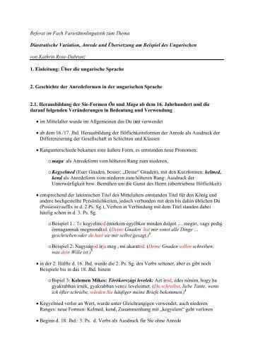 Diastratische Variation, Anrede und Übersetzung ... - Carsten Sinner