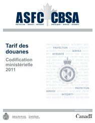 Tarif complet - Agence des services frontaliers du Canada