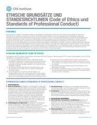 Code of Ethics Factsheet - German - CFA Institute
