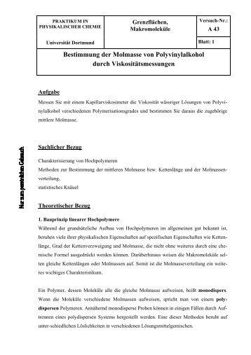 Bestimmung der Molmasse von Polyvinylalkohol durch ...