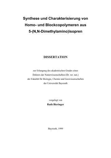 Synthese und Charakterisierung von Homo- und Blockcopolymeren ...