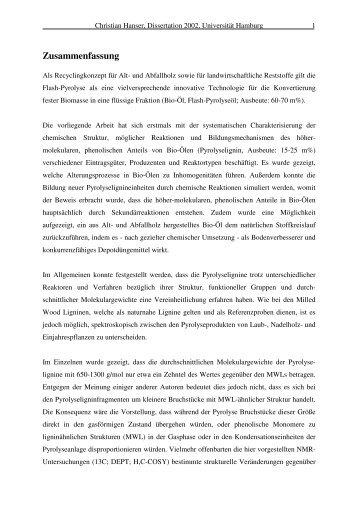 Zusammenfassung - Chemie - Universität Hamburg