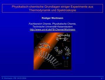 Physikalisch-chemische Grundlagen einiger Experimente aus ...