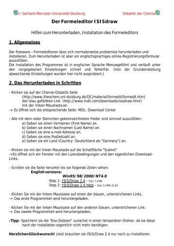 Der Formeleditor ISISdraw - Chemie und ihre Didaktik, Universität ...