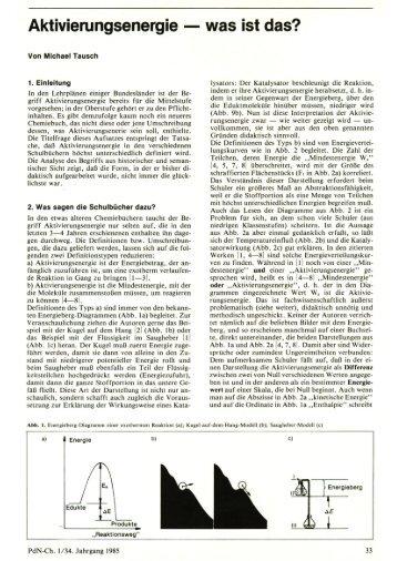 Aktivierungsenergie - Chemie und ihre Didaktik, Universität Wuppertal