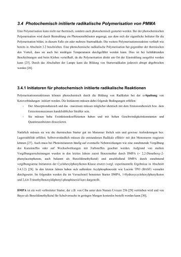 Photochemische Polymerisation - Chemie und ihre Didaktik ...