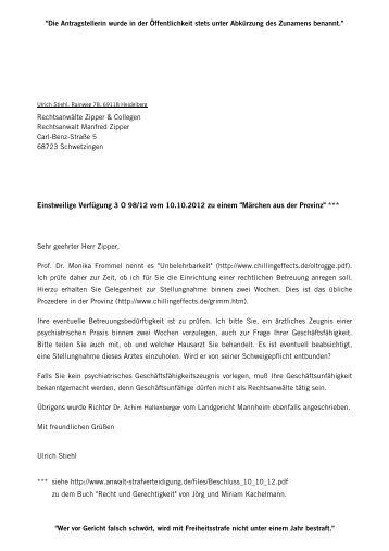 Rechtsanwalt Manfred Zipper, Schwetzingen ... - Chilling Effects