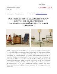 DER NACHLASS BRUNO GIACOMETTIS WIRD ZU ... - Christie's