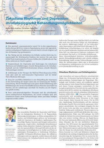 Zirkadiane Rhythmen und Depression: Chronobiologische ...