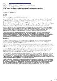 WWF zieht zweigeteilte Jahresbilanz fuer den Artenschutz - CL-Netz