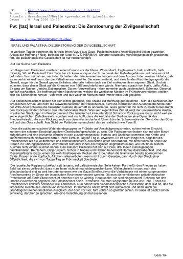 Fw: [taz] Israel und Palaestina: Die Zerstoerung der ... - CL-Netz