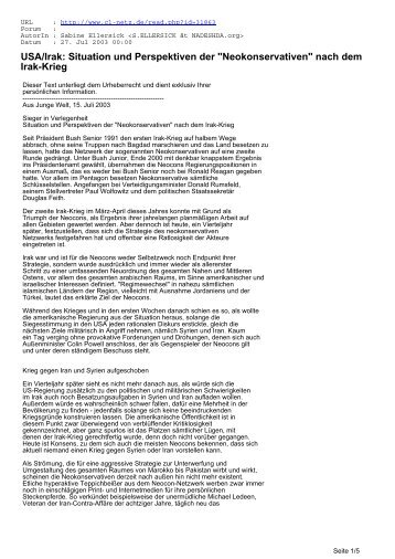 USA/Irak: Situation und Perspektiven der ... - CL-Netz
